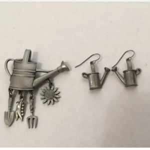 PEWTER Watering Can w/ tools Lapel Pin earrings